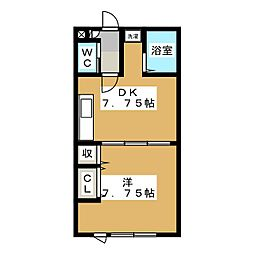 グレープ館A[1階]の間取り