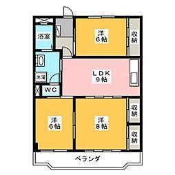 パークハイツ愛成 ウエスト[3階]の間取り