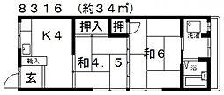 津田文化[204号室号室]の間取り