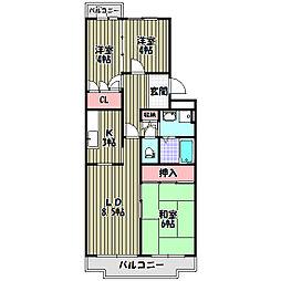 グリーンヒル小金台(マンションタイプ)[3階]の間取り