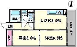 高津ゴールデンハイツ 4階2LDKの間取り