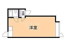 ピュアハウス 2階ワンルームの間取り