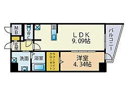 LAZO Kiyokawa[4階]の間取り