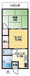 コーポ久里浜台[203号室]の間取り