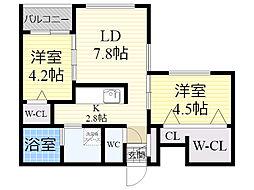 札幌市営東豊線 さっぽろ駅 徒歩6分の賃貸マンション 5階2LDKの間取り