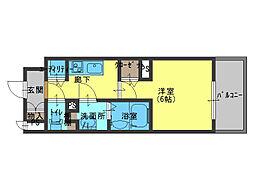 JR大阪環状線 森ノ宮駅 徒歩7分の賃貸アパート 4階1Kの間取り