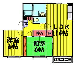 伊草ビューハイツB棟[302号室]の間取り