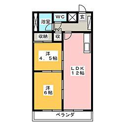 竹林マンション2[1階]の間取り