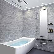 色や質感に強弱がある石を手加工でブロック状にカットし重ね合わせたような石目柄のパネルが印象的なバスルーム。シャワーヘッドの高さが変えられるスライドバーは手摺にもなり安全です