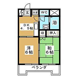 第十三ショーケービル[4階]の間取り