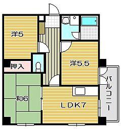大阪府茨木市五十鈴町の賃貸マンションの間取り