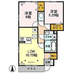 (仮)D-roomウィット北千木町[105号室]の間取り