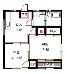 東京都西東京市栄町2丁目の賃貸アパートの間取り
