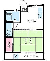 7221−渡会ビル[2B号室]の間取り