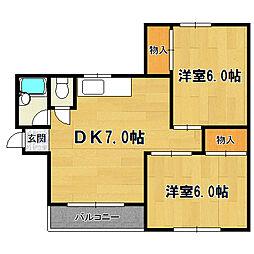シティハイツ塚本[2階]の間取り