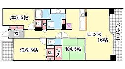兵庫県神戸市中央区旗塚通7丁目の賃貸マンションの間取り