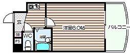 ピュアコート天神橋[7階]の間取り
