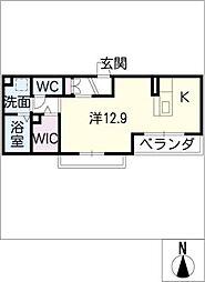 モンシャトー 1階ワンルームの間取り