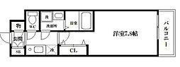 レジデンス大阪レトログラード 2階1Kの間取り