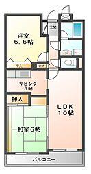 大阪府豊中市服部寿町3丁目の賃貸マンションの間取り