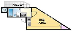 絢野壱番館 2階ワンルームの間取り