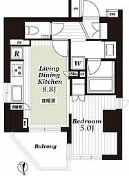 オープンレジデンシア上野松が谷 6階1LDKの間取り