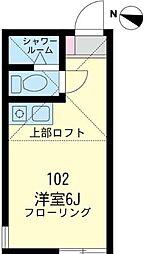 神奈川県横浜市鶴見区上末吉2丁目の賃貸アパートの間取り