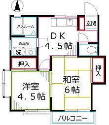 東京都小金井市貫井北町3丁目の賃貸アパートの間取り