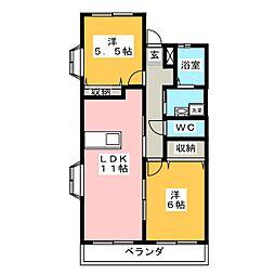 コンフォート宮子[3階]の間取り