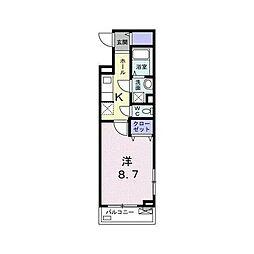 東急大井町線 尾山台駅 徒歩21分の賃貸アパート 2階1Kの間取り
