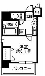 東京メトロ銀座線 京橋駅 徒歩6分の賃貸マンション 5階1Kの間取り