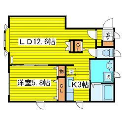 東武コートII[201号室]の間取り