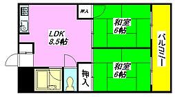 ベルビュー松田 102号室[1階]の間取り