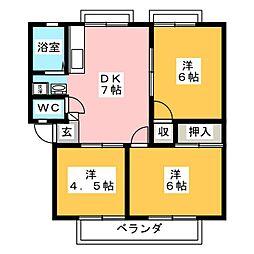 静岡県駿東郡長泉町本宿の賃貸アパートの間取り