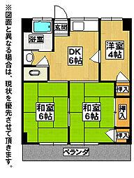 福岡県北九州市八幡西区割子川2丁目の賃貸マンションの間取り