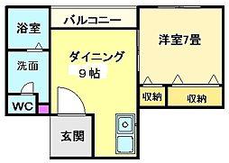 大阪府堺市北区中百舌鳥町4丁の賃貸マンションの間取り