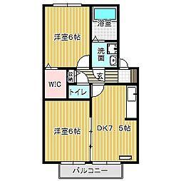 愛知県名古屋市中川区前田西町2丁目の賃貸アパートの間取り