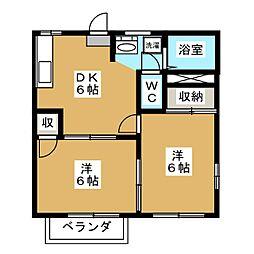 鶴田ローズタウンB棟[2階]の間取り