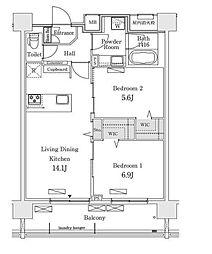新交通ゆりかもめ 新豊洲駅 徒歩22分の賃貸マンション 10階2LDKの間取り