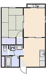 ハイツ光D[1階]の間取り