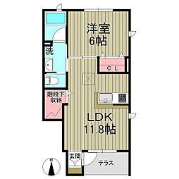 ルーチェ鎌倉 1階1LDKの間取り