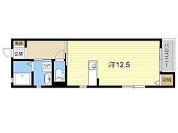 JR日豊本線 隼人駅 3.4kmの賃貸アパート 1階ワンルームの間取り