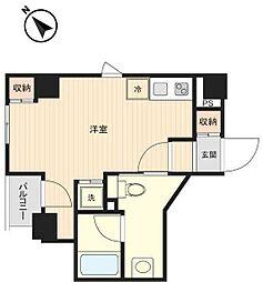 プラティーク月島 3階ワンルームの間取り