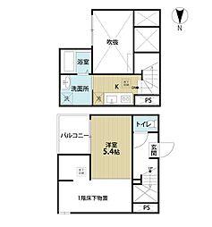 愛知県名古屋市中川区上流町1丁目の賃貸アパートの間取り