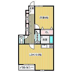 愛知県名古屋市中川区戸田明正1丁目の賃貸アパートの間取り