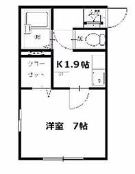 神奈川県横須賀市根岸町2丁目の賃貸アパートの間取り