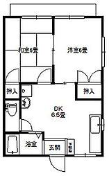 大倉山ハイツエリーナB棟[102号号室]の間取り