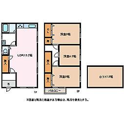 [一戸建] 長野県松本市桐1丁目 の賃貸【/】の間取り