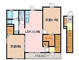 三重県松阪市小黒田町の賃貸アパートの間取り