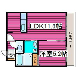 北海道札幌市東区北三十九条東3丁目の賃貸マンションの間取り